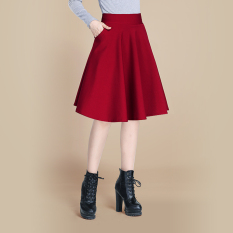 Sale Women S High Waist Pleated A Line Skirt Wine Red Color Wine Red Color Oem Online