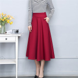 Review Autumn And Winter New Style Big Skirt A Line Dress Skirt Wine Red Color China