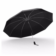 How To Buy Windproof Compact Travel Umbrella Foldable Fiberglass Frame Large Canopy Auto Open Umbrella For Men Women Black Intl