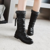 Winter Leather Boots Women Mid Calf Boots Warm Plush Boots Ladies Fashion Boots Black Intl Price