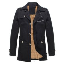 Price Comparisons Of Winter Mens Fleece Coat Warm Thicken Jacket Long Overcoat Slim Casual Jacket Black Intl