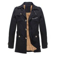 Coupon Winter Mens Fleece Coat Warm Thicken Jacket Long Overcoat Slim Casual Jacket Black Intl
