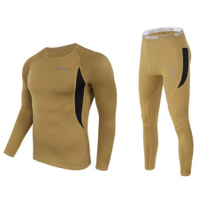 Best Reviews Of Winter Mens Outdoor Tactical Sports Thermal Underwear Lovers Suit O Neck Elastic Warm Long Johns Base Layers Brown Intl