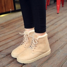 Promo Winter New European And American Style Flat Bottomed Lace Snow Boots Plus Fleece Female Cotton Martin Boots Ladies Casual Shoes Beige Intl