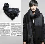 Review Winter Scarf Men Scarf Matching Leisure Upset Warm Man Scarves Gray Stripe Gray Black Oem