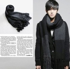 Purchase Winter Scarf Men Scarf Matching Leisure Upset Warm Man Scarves Gray Stripe Gray Black Online