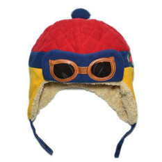 Winter Warm Child Hat Beanie Earflap Hat Pilot Aviator Style Cap For 2 - 5 Years Old Kids Red + Blue + Yellow By Vococal Shop.