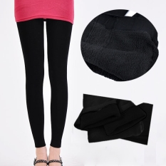 c8b793bcf03dc Winter Women Bamboo Carbon Fiber Double Thermal Warm Black Tights Footless Pants  Leggings - Intl
