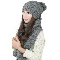 Winter Women Warm Scarf Wrap Hat Set Knitted Knitting Skullcaps Gray - Intl - Intl By Welcomehome.