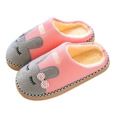 Woman Cute Cartoon Rabbit Winter Soft Warm Indoor Plush Slippers Anti-Slip Pink Size 38-39 For Feet Eu37-38 - Intl By Vococal Shop.