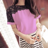 Buy Woman Patchwork Lace Blouse Summer Female Causal Short Sleeve Chiffon Shirts 7 Colors Plus Size Blouses Lady Tops Intl Oem Cheap