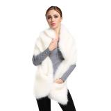 Woman Winter Fox Fur Shawl Scarf Warm Coat White Review