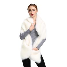 Sales Price Woman Winter Fox Fur Shawl Scarf Warm Coat White