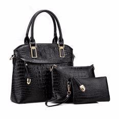 Compare Women 3 Piece Set Handle Bags Crocodile Pattern Shoulder Messenger Bag Black Intl Prices