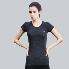 Great Deal Women Athletic Fitness Sports Running T Shirt Quick Dry Workout Gym Yoga Jogging Tee Tops Short Sleeve Black Intl