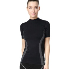 Best Price Women Athletic Yoga Sport T Shirt Tee Short Sleeve Running Fitness Gym Tops Dry Fit Black Intl
