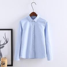 Price Women Blouse Long Sleeved Cotton Oxford Shirt Female Office Shirts Excellent Lady Blue Intl On China