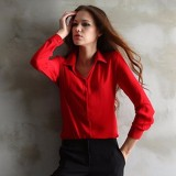 Women Blouse Solid Color Chiffon Shirt Red Best Price