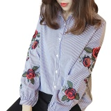 Sale Women Blouses Ladies Floral Embroidery Blouse Lantern Long Sleeve Fashion Casual Shirt Women Camisas Femininas Women Tops White Intl Oem Original