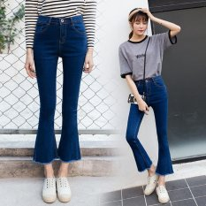 Best Buy Women Bootleg Jeans Denim Bootcut Pants Leisure Nine Jeans Burr Cuffs Slim Trousers Intl