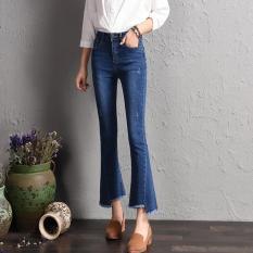 Review Women Bootleg Nine Jeans Korean New Fashion Lady Flared Ankle Jeans Irregular Tassel Cuffs Slim Elegant Trousers Intl China