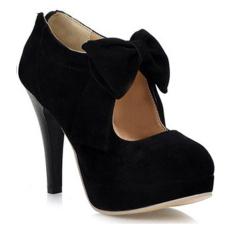 Discount Women Bowknot Pu Leather Pumps Waterproof Platform Thin Heels 10 5Cm Black Not Specified