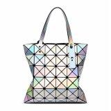 Cheaper Women Bright Bao Bao Tote Lady Geometry Lattice Sequins Fold Over Pear Bag Handbags
