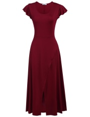 Sale Women Casual Cap Sleeve Solid O Neck Empire Stretchy Maxi Dress Wine Red Intl Oem Branded