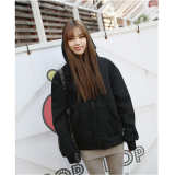 Venflon Women Casual Long Sleeve Zipper Hoodies Ladies Korean Style Sport Loose Coat Black Free Shipping