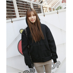 Best Reviews Of Venflon Women Casual Long Sleeve Zipper Hoodies Ladies Korean Style Sport Loose Coat Black