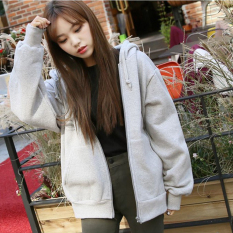 Discount Venflon Women Casual Long Sleeve Zipper Hoodies Ladies Korean Style Sport Loose Coat Grey Venflon China
