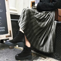 Women Casual Pleated Skirts Elastic High Waist Velvet Ruffles Solid Midi Dress Grey Intl Lowest Price