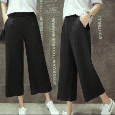 Price Women Casual Straight Cropped Chiffon Pant Summer Ladies Female Elastic Wide Leg Pants Intl Oem China
