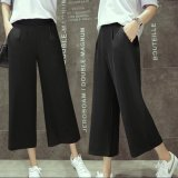 Discounted Women Casual Straight Cropped Chiffon Pant Summer Ladies Female Elastic Wide Leg Pants Intl
