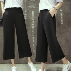Price Women Casual Straight Cropped Chiffon Pant Summer Ladies Female Elastic Wide Leg Pants Intl Oem Online
