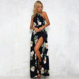 Cheapest Women Chiffon Dress Floral Print Halter Sleeveless Split Backless Hollow Out Beach Maxi Gown Elegant Party One Piece Intl