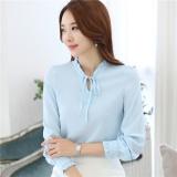 Discount Women Chiffon Ruffle Long Sleeve Bowknot Blouses Tops Blue Intl