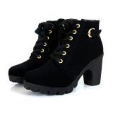 Best Deal Women Chunky Block High Heel Ankle Boots Winter Nubuck Buckle Martin Boot Shoes Black