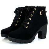 Buy Women Chunky Block High Heel Ankle Boots Winter Nubuck Buckle Martin Boot Shoes Black Oem