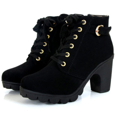 Price Compare Women Chunky Block High Heel Ankle Boots Winter Nubuck Buckle Martin Boot Shoes Black