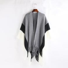 1feb64a11edf4 Women Color Stitch Cashmere Wool Striped Tassel Shawl Soft Neck Scarf - intl
