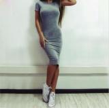 Purchase Women Cotton Office Knee Length Dresses Slim Short Sleeve Robes Bodycon Vestidos Pencil Dress Intl Online