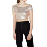 Buy Cheap Women Crop Top Sequined Open Back Round Neck Short Sleeve Solid Bodycon Fit S*xy Tee Intl