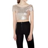 Buy Women Crop Top Sequined Open Back Round Neck Short Sleeve Solid Bodycon Fit S*xy Tee Intl Unbranded Online