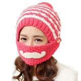 Buy Women Cute Winter Beard Hat Knit Warm Cap Beanies With Mouth Mask Wr Intl Oem Online