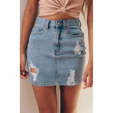 Price Women Denim High Waisted Bodycon Pencil Frayed Mini Skirt Jeans Skirt Intl Oem New
