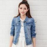 Review Women Denim Jackets Long Sleeve Short Jeans Jacket Woman Denim Coat Light Light Blue Intl China