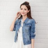 Buy Women Denim Jackets Long Sleeve Short Jeans Jacket Woman Denim Coat Lightblue Intl China