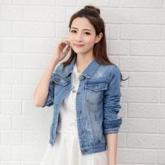 Sale Women Denim Jackets Long Sleeve Short Jeans Jacket Woman Denim Coat Lightblue Intl Oem Online