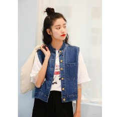 Best Rated Women Denim Vest Female Waistcoat Sleeveless Jacket Student Short Coat Student Cowboy Coat Wraps College Palliate Wind Coats Fashional Outer Wear Intl